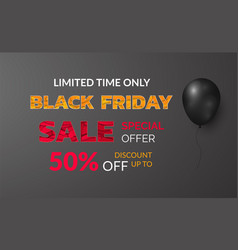 black friday banner 50 sale and special offer vector image