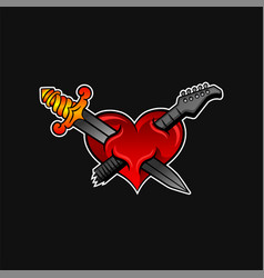 bright red heart with crossed sword and neck of vector image
