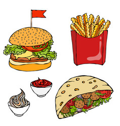 burger french fries ketchup falafel pita or vector image