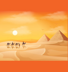 Camel caravan in wild africa pyramids landscape vector
