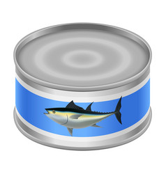 canned tuna mockup realistic style vector image