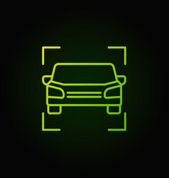 Car green icon - vehicle outline concept vector