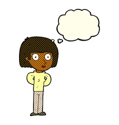 Cartoon staring woman with thought bubble vector