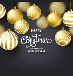 christmas background with tree balls golden ball vector image