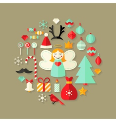 Christmas Flat Icons Cute Set Over Light Brown vector