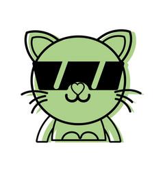 Color happy cat adorable feline animal with vector