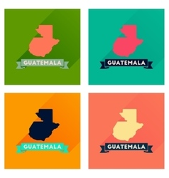 Concept of flat icons with long shadow Guatemala vector