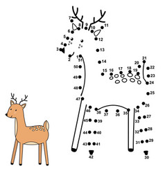 Connect dots and draw a cute deer vector