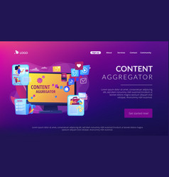 Content aggregator concept landing page vector