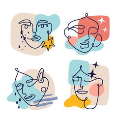 contour one line female faces set modern vector image