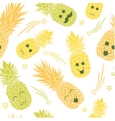 cute pineapple family seamless repeat pattern vector image