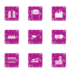 Distiller icons set grunge style vector