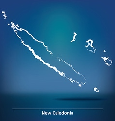 Doodle Map of New Caledonia vector
