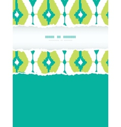 Emerald green ikat diamonds frame torn seamless vector
