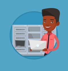 Engineer working on laptop in network server room vector