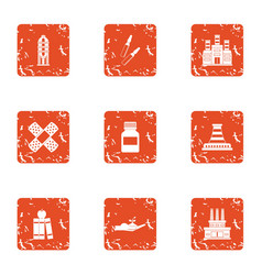 factory store icons set grunge style vector image