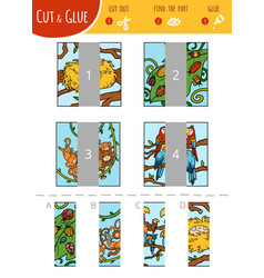 find right part cut and glue game vector image