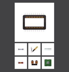 flat icon technology set of memory resistor vector image