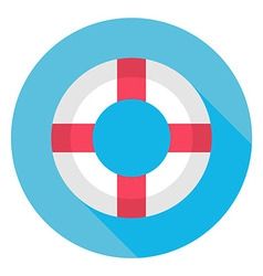Flat Sea Lifebuoy Circle Icon with Long Shadow vector