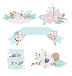 Floral doodles leaves branches flowers ribbons vector