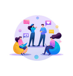 friends correspond online chat flat 2d character vector image