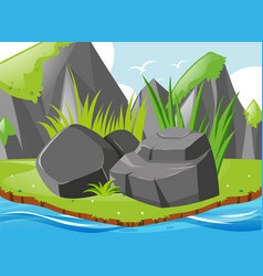 Garden scene with rocks and river vector