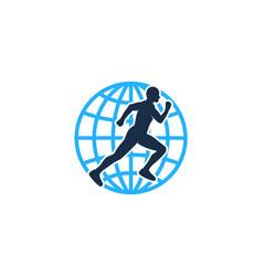 globe run logo icon design vector image