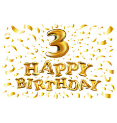 Golden number three 3 metallic balloon party vector