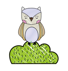 Grated owl wild animal in bursh plant vector