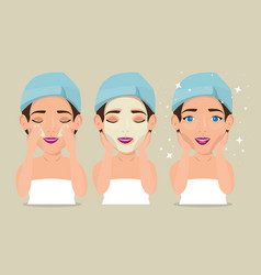 group of beautiful women in treatment facial vector image