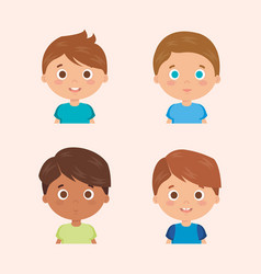 Group of little boys characters vector