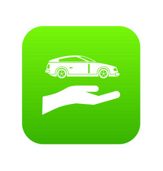 hand and car icon digital green vector image