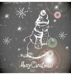 Hand-drawn vintage greeting card with snowman vector