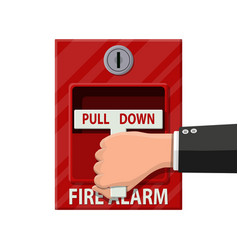 hand switch fire alarm system fire equipment vector image