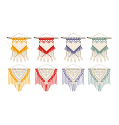 Handcrafted macrame color set vector