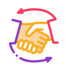 handshake icon outline vector image