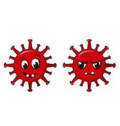happy and angry coronavirus characters funny vector image