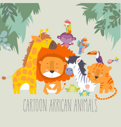 happy jungle animals best friends vector image