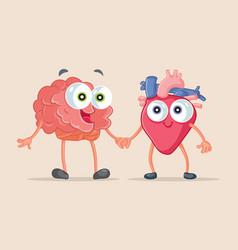 Heart and brain being friends cartoon vector