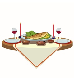 Holiday table with wine and fish vector