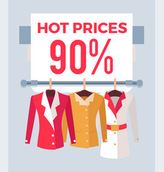 Hot prices 90 sale special offer label discount vector