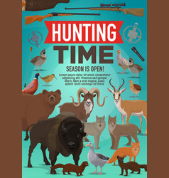 Hunting time and hunt open season animals poster vector