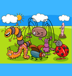 insects and bugs cartoon characters group vector image