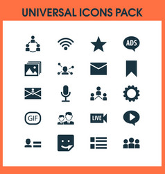 internet icons set with form play personal data vector image