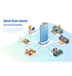 isometric video conference working at home vector image
