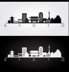 Kyoto skyline and landmarks silhouette vector