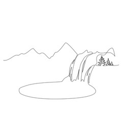 landscape with mountains waterfall and lake one vector image