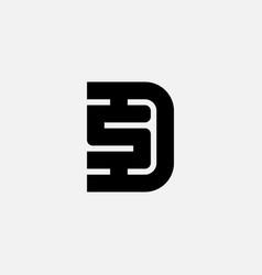 Letter d and s logo design minimalistic symbol vector