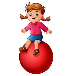 Little girl sitting on the ball vector