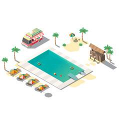 Luxury resort swimming pool isometric vector